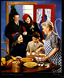 "McCall's Magazine cover, 1939, ""Family Arriving in Kitchen for the Holidays"" (with a little Photoshopping by SM)."